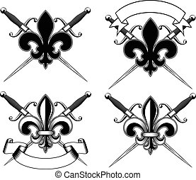 heraldic Lily and crossed dirks set - Vector illustration...