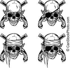 Pirate skull pistols set - Vector illustration pirate skull...