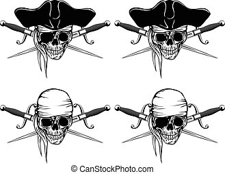 Pirate skull cutlass set - Vector illustration pirate skull...