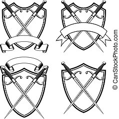 shield with crossed dirks - Vector illustration crossed...