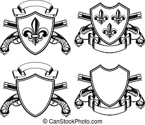 shield with heraldic Lily and crossed old flintlock pistols...