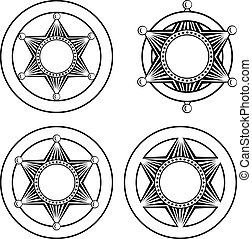 six pointed sheriffs star in circle set - Vector...