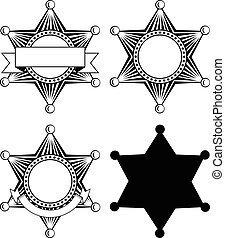 six pointed sheriffs star set - Vector illustration six...