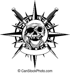 Wind rose and skull - Vector illustration wind rose and...