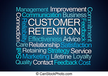 Customer Retention Word Cloud on Blue Background