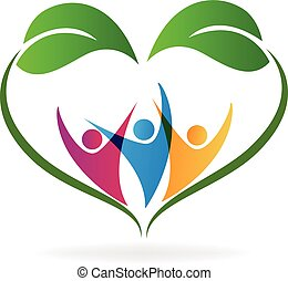 Ecology love heart leafs and people logo - Ecology happy...