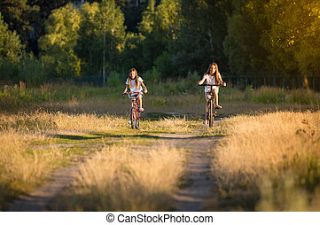 Toned image of two girls riding bicycles on meadow at sunset