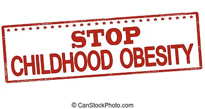 Stop childhood obesity - Rubber stamp with text stop...