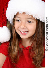 Christmas girl - Cute brunette girl wearing a fluffy...