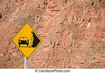 Landslide warning - Traffic sign warning of  landslide risk