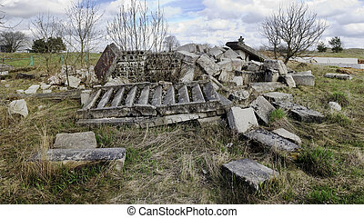 ruins of the old destroyed  home