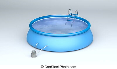 Inflatable swimming pool with ladder and filter pump