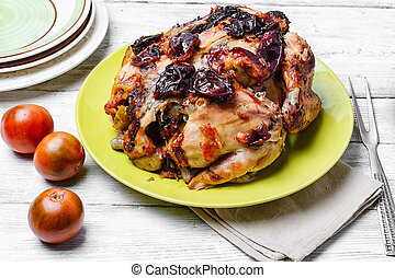 Roasted whole chicken - Lunch dish with roasted carcass of...