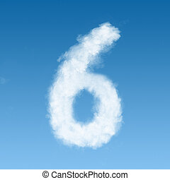 clouds in shape of figure six - number six made of white...