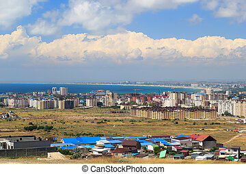 Aerial panorama of Anapa resort city, Russia. Summer day...