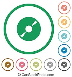 DVD disc outlined flat icons - Set of DVD disc color round...