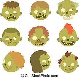 Cartoon zombie character isolated - Colorful zombie scary...