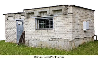 White bricks shed isolated