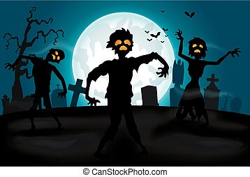 Halloween background with zombies - illutration of Halloween...
