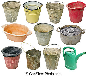 Metal and plastic used buckets isolated set