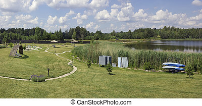Grass beach and rest area - VILNIUS, LITHUANIA - JULY O2,...