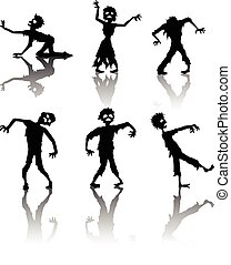 Zombie Silhouette collection - illustration of Zombie...