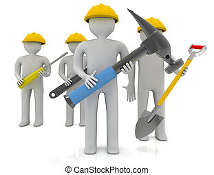 3d people - human character, team of construction workers