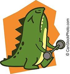 Fitness Crocodile vector art illustration