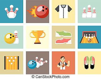 Bowling flat icons. Game signs. Skittles and cup, strike and...