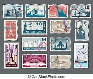 Travel, vacation, postage stamp with architecture and world...