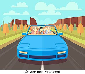 Happy family traveling in car