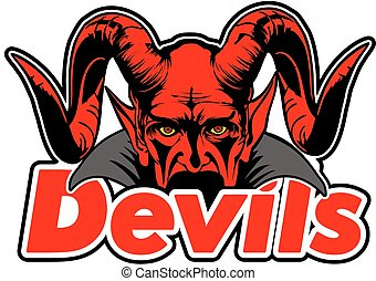 DEVILS - Devil face with horns behind the written.