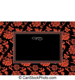 Vector Red Chinese Pattern and Frame