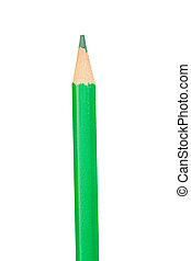 Green pencil vertically isolated on white background