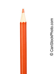 Orange pencil vertically isolated on white background