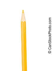 Yellow pencil vertically isolated on white background