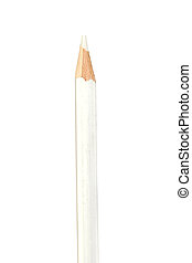 White pencil vertically isolated on white background