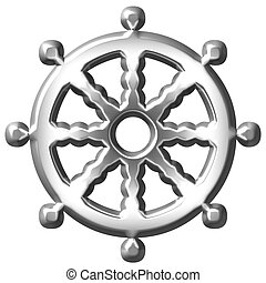 3D Silver Buddhism Symbol Wheel of Dharma - 3d silver...