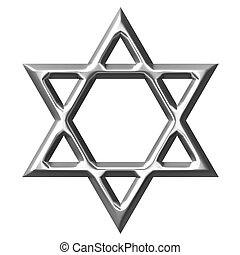 3D Silver Star of David - 3d silver Star of David isolated...