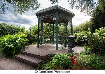 hermoso, parque, debajo, árbol,  metal, grande,  Gazebo