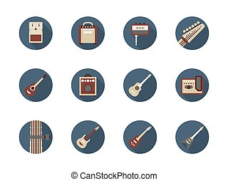 Guitar stuff round color vector icons - Musical instruments...