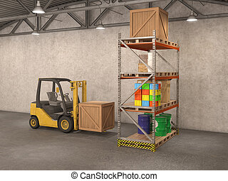 warehouse with loader, 3d illustration