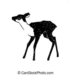 fawn vector illustration - hand drawn fawn vector...