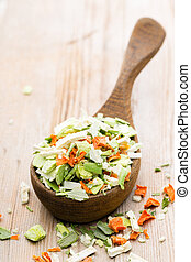 Dried vegetable spice. Bio herbs product. Finely chopped...