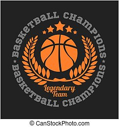 Basketball championship logo set and design elements on dark...