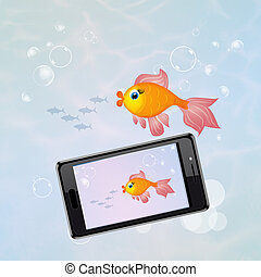 smartphone water resistant - illustration of smartphone...