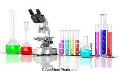 3D render illustration. Laboratory glassware whith color...