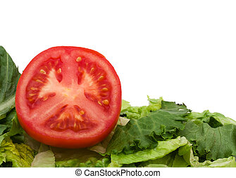 Healthy Eating - Part of a red tomatoes with lettuce...
