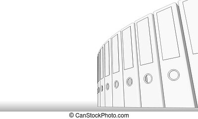 Office binders, low angle. Sketch, 3D rendering for reports and presentations