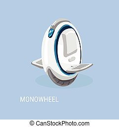 Monowheel, Solo wheel, unicycle. Electrical self-balancing scooter. Alternative Eco Transport vehicle isolated on a blue background. Vector illustration.